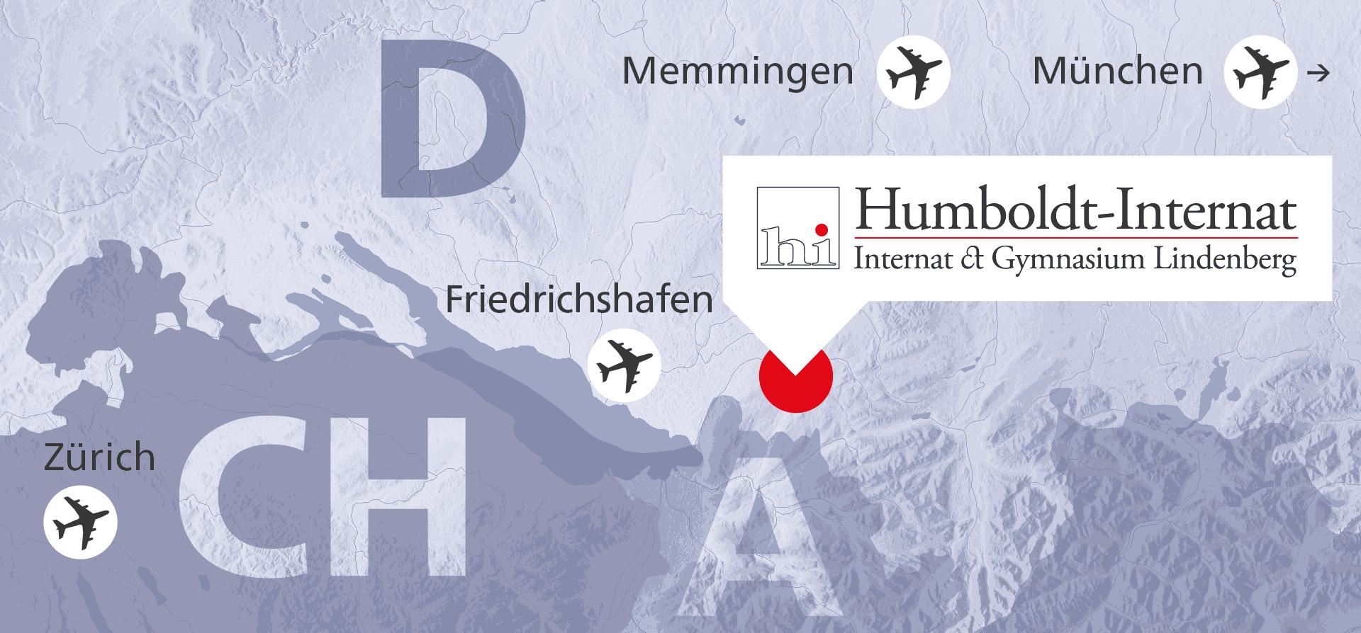 Die Lage des Internats Lindenberg mit den Flughäfen Friedrichshafen, Memmingen, München und Zürich.